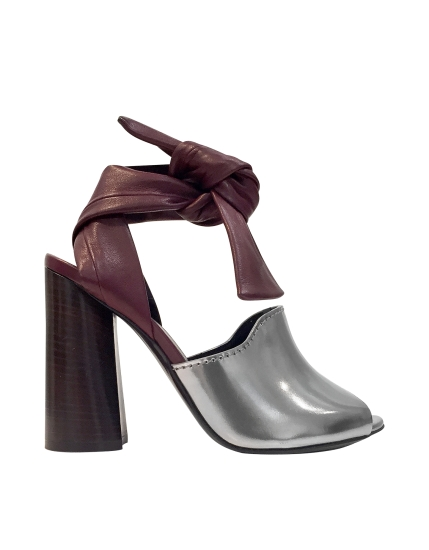 3.1 Phillip Lim Kyoto Silver and Malbec Leather Ankle Knotted Sandal