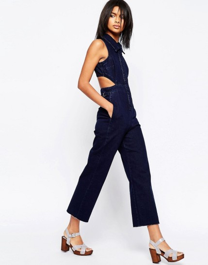 ASOS Denim Wide Leg Jumpsuit With Collar In Indigo $23, at asos.com