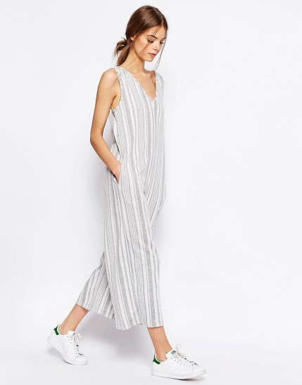 ASOS Jersey Jumpsuit with Wide Leg in Variegated Stripe $44, at asos.com
