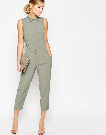ASOS Sleeveless Shirt Detail Jumpsuit $51, at asos.com