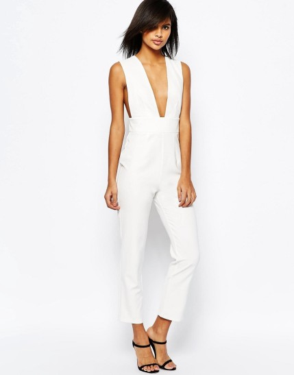 ASOS Structured Plunge Jumpsuit $36.50 http://us.asos.com/ASOS-Structured-Plunge-Jumpsuit/19v8as/?iid=6341477&clr=Ivory&SearchQuery=&cid=9638&pgesize=204&pge=0&totalstyles=1324&gridsize=4&gridrow=19&gridcolumn=4&mporgp=L2Fzb3MvYXNvcy1zdHJ1Y3R1cmVkLXBsdW5nZS1qdW1wc3VpdC9wcm9kLw..