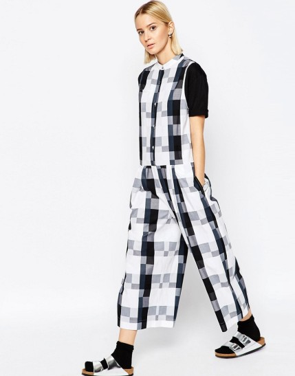 ASOS WHITE Oversized Jumpsuit in Gingham $43.50, at asos.com
