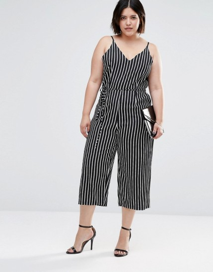 AX Paris Plus Jumpsuit In Stripe $43, at asos.com