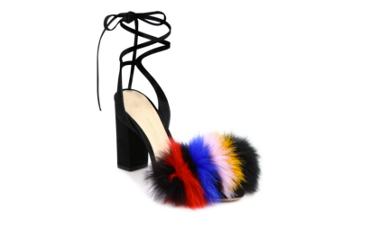 Fendi Fur Peep Toe Heels