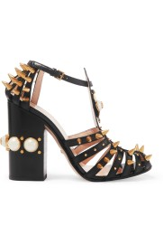 Gucci Embellished Cutout Leather Pumps
