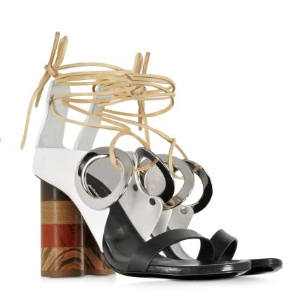 Proenza Schouler Black and White Leather Open Toe Sandal w:Chuncky Wooden Heel