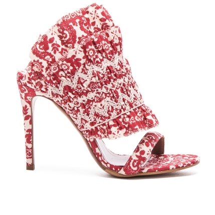 Tabitha Simmons Flouncy Linen Heels in Red and Ecru
