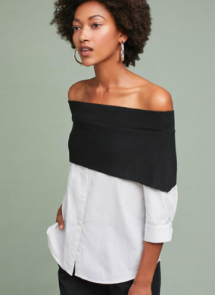 Anthropologie Layered Off-The-Shoulder Pullover